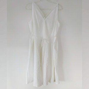 Gibson Latimer White Linen Blend Mid Dress